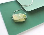 Light green abstract modern clay pendant necklace. Painterly patina  multi-color design. One-of-a-kind handmade by GRAYJA