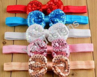 U Pick Shinny Bowknot Headbands Sequin Bow Headband  Baby Girl Headbands-YTK34