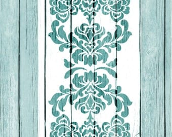 Re-usable Mylar Stencil LONG DAMASK,Furniture, Fabric, Vintage, French, Shabby Chic