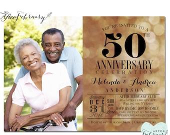 50th Anniversary Invitation // Golden Wedding Anniversary Invite // Photo Anniversary Invite // Black and Gold // No.632