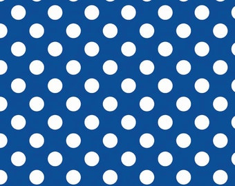 Riley Blake royal blue flannel Medium dot fabric from Holiday School dots design line
