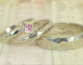 Square Pink Tourmaline Engagement Ring, 14k White Gold, Tourmaline Wedding Ring Set, Rustic Wedding Ring Set, October Birthstone Tourmaline