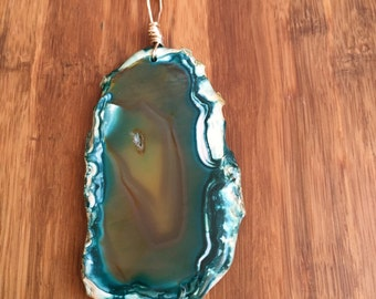 Turquoise Agate Slice Necklace Wire Wrapped in Silver