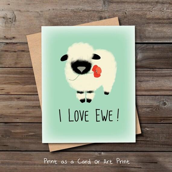 süße Liebe Karte druckbare Download Lamm ich liebe Ewe lustige