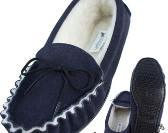 Mens / Womens Premium Genuine Suede Moccasin Slippers with PVC Sole in Navy
