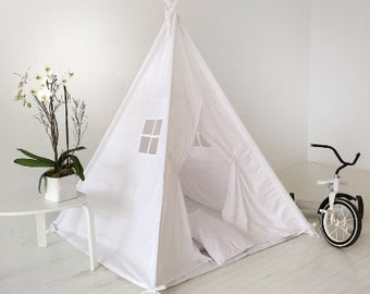 Children's Play Tent Teepee Handmade for Kids in White twill. Comes with Padded Mat Base and Two Pillows