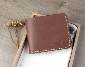 Brown Leather Bifold Wallet - Bifold wallet - Women Leather Wallet - Vegetable tanned leather - Handmade - Leather Bifold - Brown Bifold