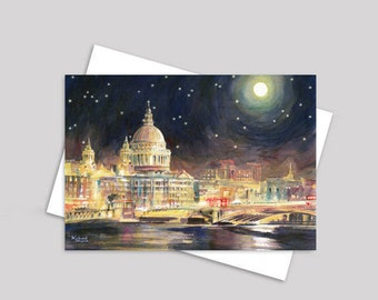 London greeting card, St Paul's Cathedral painting, London card, watercolour, card