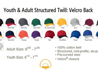 Blank Twill Structured Hat, Youth & Adult