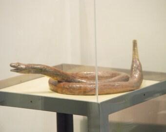 "Rattlesnake sculpture, Modified Wheel Thrown ring jug pottery, ""Warning"", Weird Art, Brown Snake Animal Scary art, Hand Built ceramic"