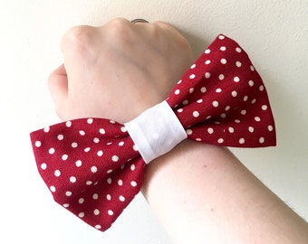Red and white polka dot hair bow
