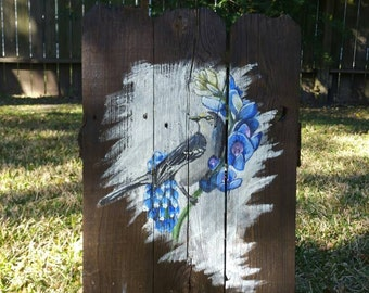 MOCKINGBIRD painting on upcycled fence wood, rustic and beautiful, with bluebonnet flowers