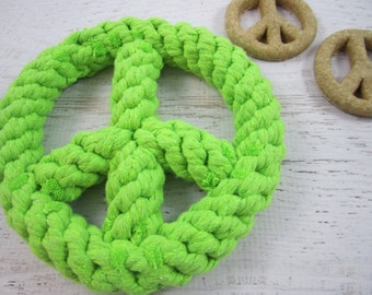 Peace Out Gourmet Dog Treats Gift Set ~ Lime Green Retro Rope Tug Toy ~ Homemade Peanut Butter All Natural Dog Biscuits ~ Healthy Dog Snacks