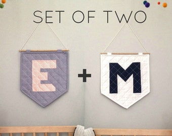 SET OF TWO - The Quilted Wall Hanging - Personalize Your Letter or Symbol