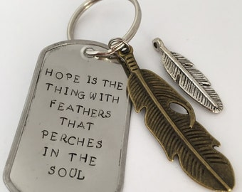 Hope is the Thing With Feathers That Perches in the Soul Keychain