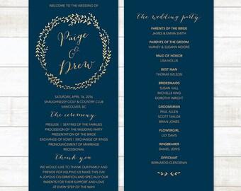 Navy Gold Wedding Program Glitter Printable Custom