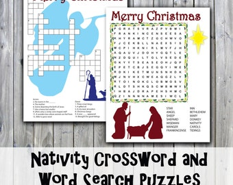 Christmas Nativity Crossword Puzzle and Word Search - Party Game Printables - Instant Download