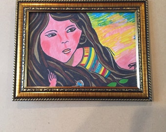 Framed 5x7 drawing of colorful girl