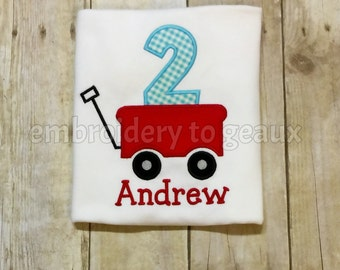 Red Wagon Birthday Shirt-Wagon Second Birthday Shirt-Little Red Wagon Birthday Shirt-Baby Boy Birthday Shirt-Wagon First Birthday Shirt