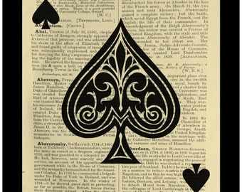 Ace of Spades Playing Card - Dictionary Print Book Page Art