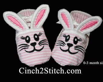 Bunny Baby Booties - In The Hoop - Machine Embroidery Design Download - (0-3 month size)