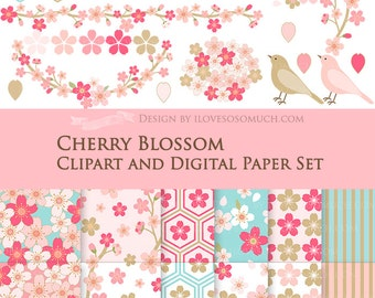 30% off Cherry Blossom / Japanese Sakura Clip Art + Digital Paper Set / Cherry Blossom Clipart / Cherry Blossom Paper - Instant Download