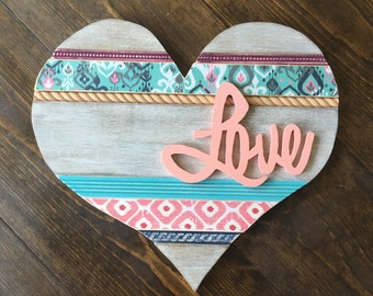 "Medium Turquoise and Pink ""LOVE"" Heart Wall Decor"