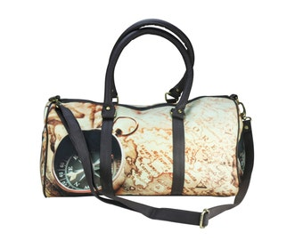 Travel in Time Printed Duffle Bag