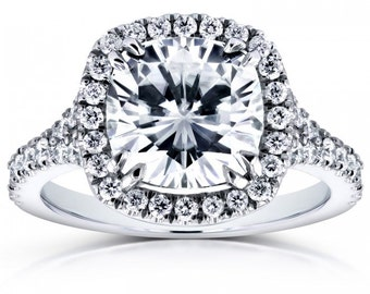 Cushion Moissanite and Diamond Halo Cathedral Ring 3 1/3 CTW in 14k White Gold