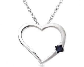 Blue Sapphire Heart Pendant in 14K White Gold