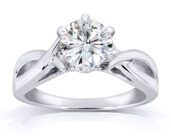 Forever One Round Moissanite Solitaire Engagement Ring 1 CTW in 14k White Gold