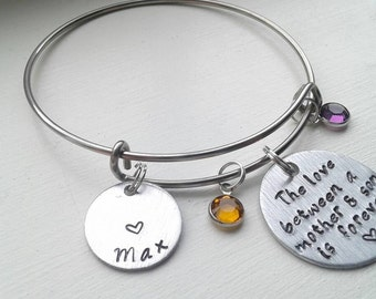 The Love Between A Mother & Son Is Forever Bracelet With Two Birthstones, Name - Stainless Steel Bangle - Mom, Mawma, From Son, Mother's Day