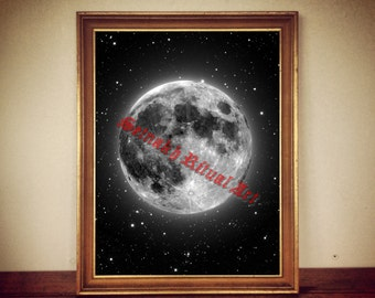 Moon art, stars illustration, astronomy poster, gothic art, magic poster, magick, occult home decor #345