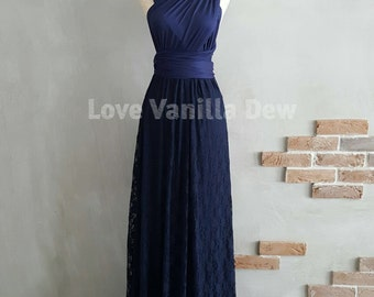 Bridesmaid Dress Infinity Dresses Navy Lace Floor Length Maxi Wrap Convertible Dress Wedding Dress