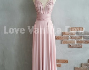Bridesmaid Dress Infinity Dress Nude Pink with Chiffon Overlay Floor Length Maxi Wrap Convertible Dress Wedding Dress