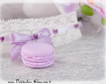 Lace kawaii violet macaroon necklace