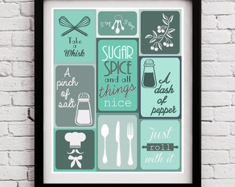 Teal Combinations Kitchen Decor, Teal Kitchen Print, Teal Kitchen Wall Art,  Kitchen Print