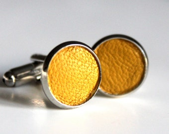 Yellow Leather cufflinks | Wedding Cuff links Groom | Gift for men l Groomsmen cufflinks | Christmas gift