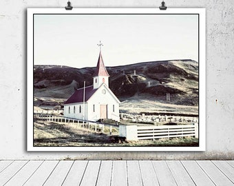 Iceland Church Photo, Iceland photography, travel photography, home decor, red, church, cemetary photo, green, white, Iceland, country decor