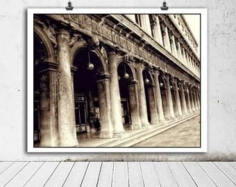 Travel photography, Venice photo, architectural photography, Venice Italy, San Marco Square, Columns, Sepia, brown, home decor, urban art