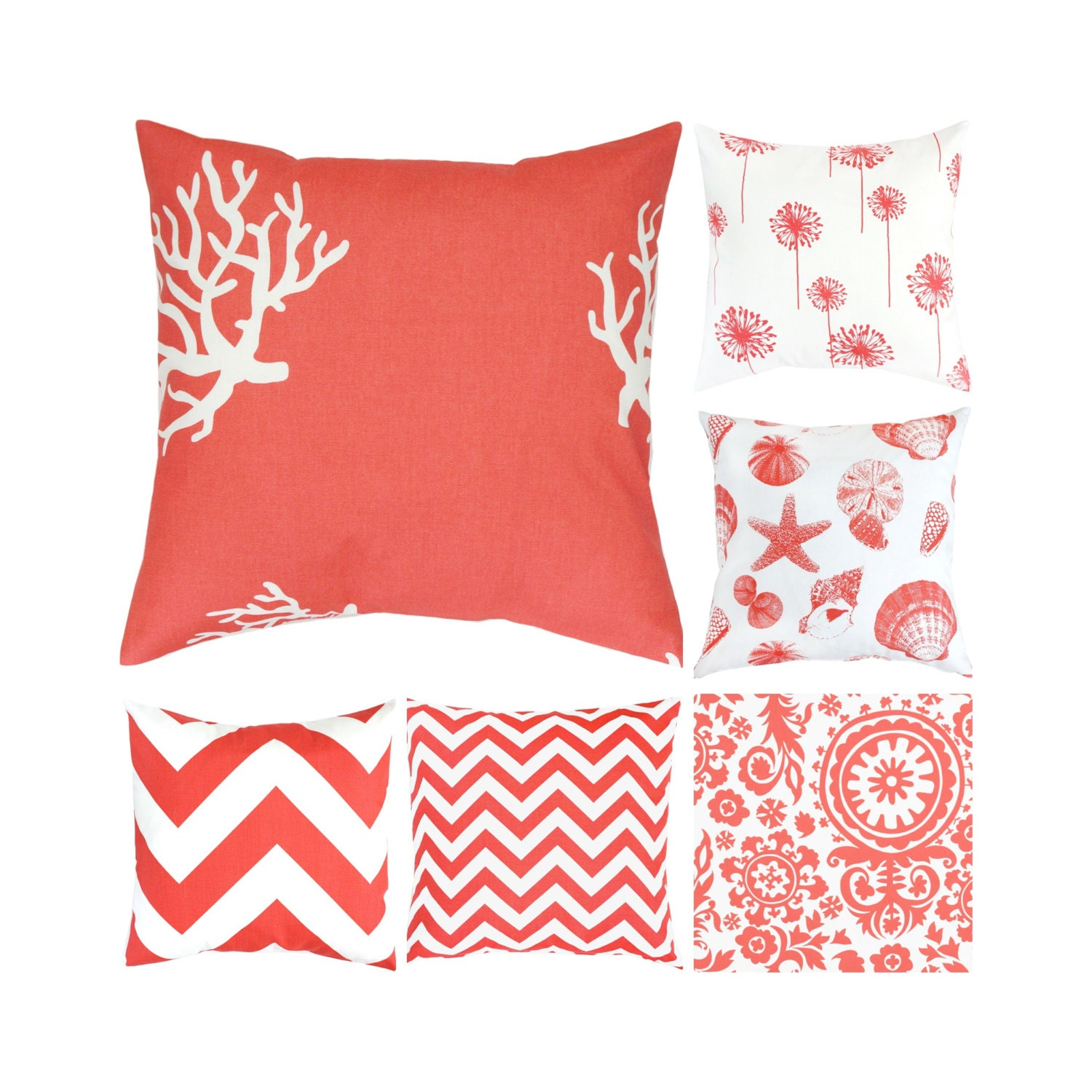 Throw Pillows With Coral : White Coral Throw Pillow Toss Pillow Coral Euro Sham Cover