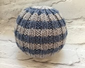 Hand knitted beanie baby boy hat blue and grey hat baby beanie baby gift baby shower idea hand knitted hat baby beanie baby hat