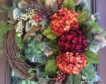 Fall Wreath, Autumn Wreath, Grapevine Wreath, Elegant Wreath, Front Door Wreath