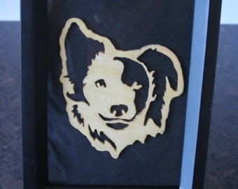 collie dog  carving