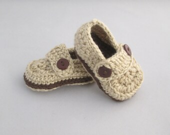 Baby Boy's Handmade Crocheted Loafer Style Booties