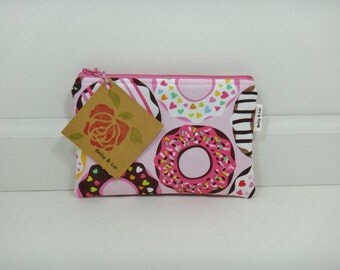 Donut Small Cosmetic Bag, Small Pouch, Makeup Bag, Small Pouch Purse, Small Cosmetic Pouch, Zipper Pouch, Makeup Pouch