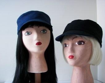 Women's Hat Reversible Engineer style hand sewn: Navy herringbone flannel & Black wool blend