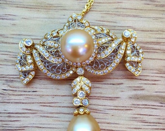18K Gold Diamond And Golden South Sea Cultured Pearl Pendant/Brooch