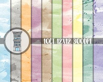 Digital Scrapbook Paper Watercolors Paint Splatters INSTANT DOWNLOAD