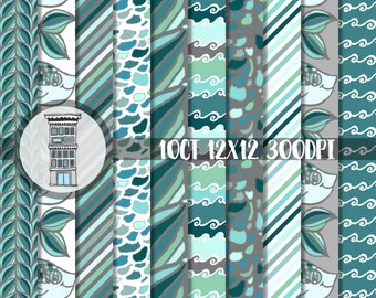 Digital Paper Pack Blue Fish Instant Digital Download Aquatic theme patterns Under the Sea Waves Diagonal Stripes Digital Scrapbooking Cards
